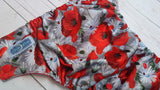 Cover- Poppies (red inner pul & snaps)<br>Traditional, One Size Diaper<br>Instock and Ready to Ship