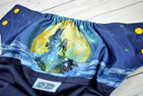 Moonlit Mermaid ( navy outer, two-toned snaps / marigold caps / seaspray pieces) <br>Wrap Around, One Size Pocket Diaper<br>Instock and Ready to Ship