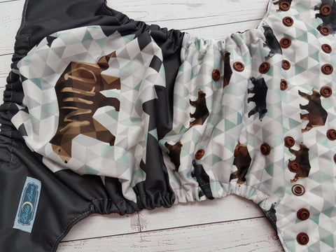Wild and Free Geometric Bear (brown awj & snaps) <br>Traditional, One Size Pocket Diaper<br>Instock and Ready to Ship