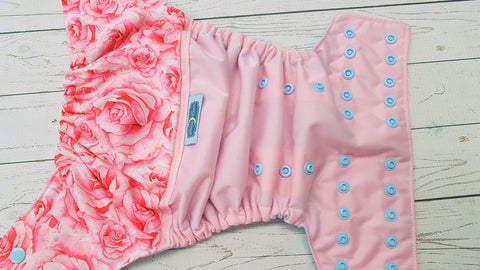 Pretty Pink Roses (light pink pul, light blue awj & snaps) 4.27 <br>PK Wrap Around, One Size Pocket Diaper<br>Instock and Ready to Ship