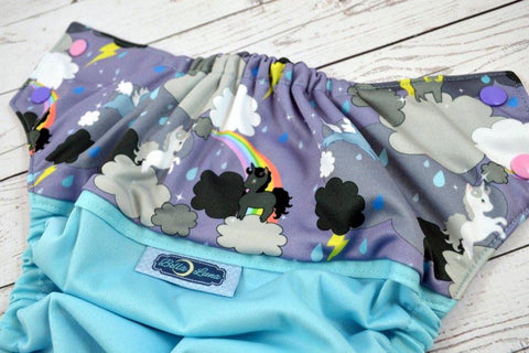 Unicorns in the Clouds ( seaspray outer, light pink / medium purple alternating ) <br>Wrap Around, One Size Pocket Diaper<br>Instock and Ready to Ship