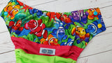 Rainbow Fish (aqua awj, multi snaps; orange, apple, aqua alternating) <br>Wrapped Crazy Scrappy, One Size Pocket Diaper<br>Instock and Ready to Ship