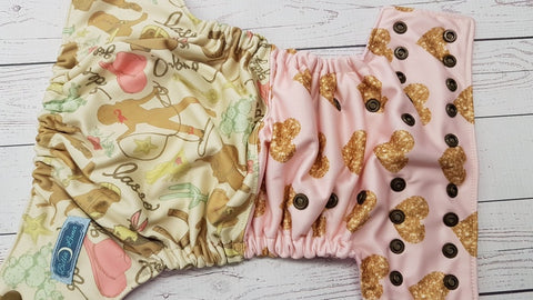 Cowgirl Love (light pink awj, bronze snaps) <br>Performance Knit Traditional, One Size Pocket Diaper<br>Instock and Ready to Ship