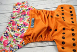 Muted Orange Panda Party ( muted orange outer / two-toned snaps orange caps / navy pieces) <br>Wrap Around, One Size Pocket Diaper<br>Instock and Ready to Ship