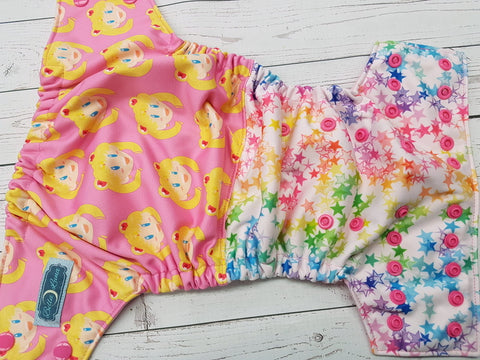 Moon Girl Half & Half (raspberry awj, hot pink snaps) <br>Performance Knit Traditional, One Size Pocket Diaper<br>Instock and Ready to Ship