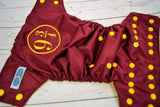 Cover- 9 3/4 (burgundy pul, marigold inner pul & snaps)<br>Embroidered, One Size Diaper<br>Instock and Ready to Ship