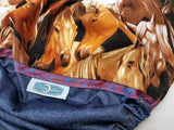 Packed Horsies (blue jean outer, brown awj, two toned snaps; brown caps, navy pieces) <br>Printed PUL Wrap Around, One Size Pocket Diaper<br>Instock and Ready to Ship