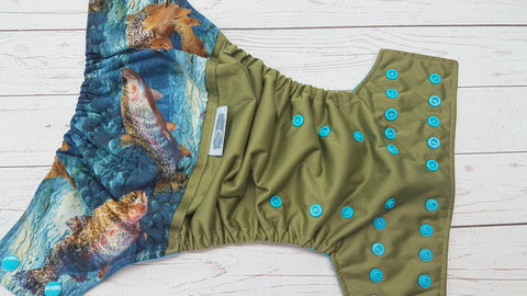 Speckled Trout (olive pul, aqua awj & snaps) <br>Wrap Around, One Size Pocket Diaper<br>Instock and Ready to Ship