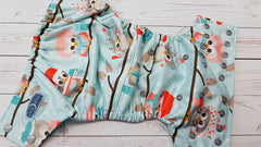 Pocket- Owls on a Line (seaspray inner awj, silver snaps)<br>Poly Traditional, One Size Diaper<br>Instock and Ready to Ship