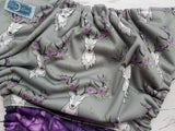 Purple Antler Roses (black awj & snaps) <br>Performance Knit Traditional, One Size Pocket Diaper<br>Instock and Ready to Ship