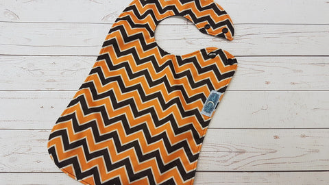 Orange & Black Chevron <br>Waterproof Boutique Bib<br>Instock and ready to ship