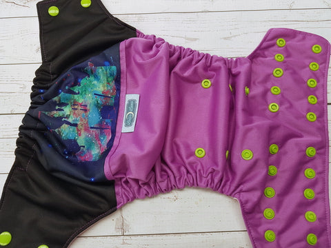 Violet Watercolor Kingdom (violet outer, light pink inner, apple snaps) <br>Wrap Around, One Size Pocket Diaper<br>Instock and Ready to Ship