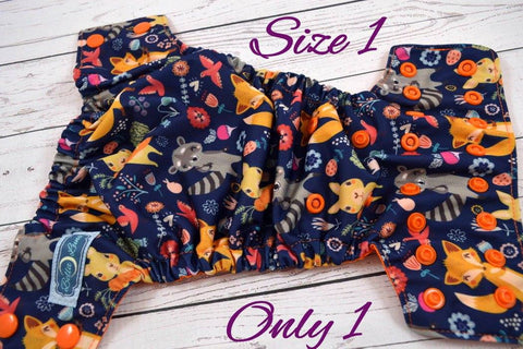 Newborn/Size 1- Woodland Fox Newborn (orange snaps ) <br>Traditional Size One Pocket Diaper<br>Instock and Ready to Ship