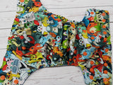 Poke Creatures (aqua awj, orange snaps ) <br>Traditional, One Size Pocket Diaper<br>Instock and Ready to Ship