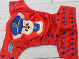 Police Pup (red outer, royal awj & snaps) <br>Embroidered, One Size Pocket Diaper<br>Instock and Ready to Ship