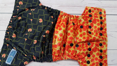 Pac-Man Pizza Party (red awj, black snaps) 6.1 <br>Performance Knit Traditional, One Size Pocket Diaper<br>Instock and Ready to Ship