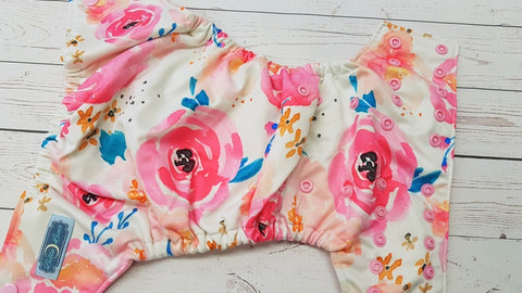 Cover- Big Pink Floral (light pink inner pul & snaps) <br>Performance Knit Traditional, One Size Cover<br>Instock and Ready to Ship