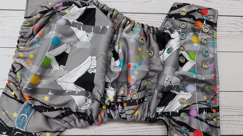 Colorful Campout (black awj, epic snaps) <br>Performance Knit Traditional, One Size Pocket Diaper<br>Instock and Ready to Ship