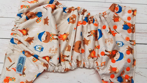 Cover- Cute Little Lumberjack (orange inner pul & snaps) <br>Performance Knit Traditional, One Size Cover<br>Instock and Ready to Ship