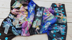 Pocket- All the Watercolor Ponies (navy inner awj, aqua snaps)<br>Poly Traditional, One Size Diaper<br>Instock and Ready to Ship