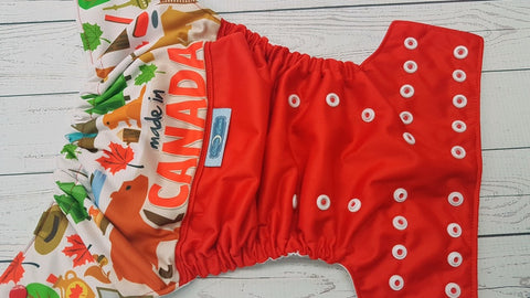 Made In Canada (red pul, white awj, two toned snaps; red caps, white pieces) <br>PK Wrap Around, One Size Pocket Diaper<br>Instock and Ready to Ship