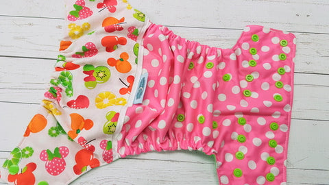 Minnie's Fruit Salad (spring green awj, apple snaps) <br>Printed PUL Wrap Around, One Size Pocket Diaper<br>Instock and Ready to Ship