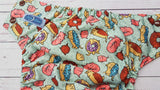 Donut Kitty (brown awj & snaps) <br>Performance Knit Traditional, One Size Pocket Diaper<br>Instock and Ready to Ship