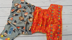 Hp Toss (citron awj, two toned snaps; Marigold caps, silver pieces) <br>Performance Knit Traditional, One Size Pocket Diaper<br>Instock and Ready to Ship