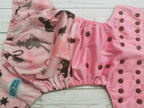 Raspberry Cowgirl (brown awj & snaps) <br>Half & Half, One Size Pocket Diaper<br>Instock and Ready to Ship