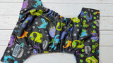 Dino Roar (aqua awj, two toned snaps; aqua caps, apple pieces) <br>Performance Knit Traditional, One Size Pocket Diaper<br>Instock and Ready to Ship