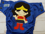 Wonderous Women (red awj, black snaps) <br>Embroidered, One Size Pocket Diaper<br>Instock and Ready to Ship