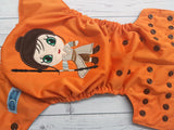 Orange Scavenger Force (Orange PUL, Brown AWJ, Brown Snaps) <br>Embroidered, One Size Pocket Diaper<br>Instock and Ready to Ship