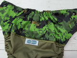 Cadpat (olive pul, black awj & snaps) <br>Wrap Around, One Size Pocket Diaper<br>Instock and Ready to Ship