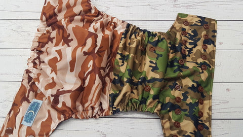 Camo Combo (brown awj & snaps) <br>Half & Half, One Size Pocket Diaper<br>Instock and Ready to Ship