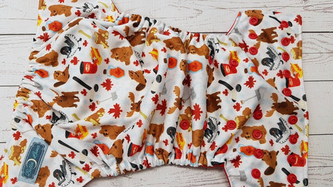 Truly Canadian (red awj & snaps) <br>Performance Knit Traditional, One Size Pocket Diaper<br>Instock and Ready to Ship