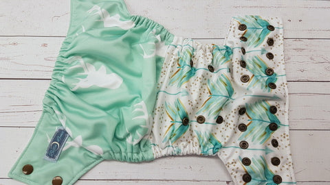 Minty Deer Games (white awj, bronze snaps) <br>Performance Knit Traditional, One Size Pocket Diaper<br>Instock and Ready to Ship