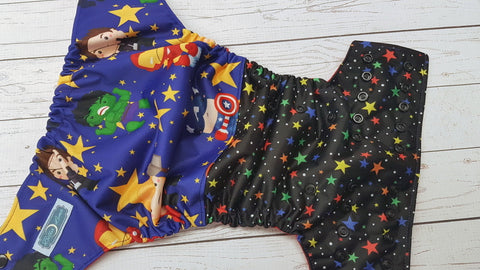 Star Heros (red awj, black snaps) <br>Half & Half, One Size Pocket Diaper<br>Instock and Ready to Ship