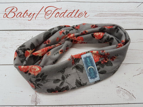 Roses on Gray (baby) <br>Baby/Toddler Knot Headband<br>Instock and Ready to Ship