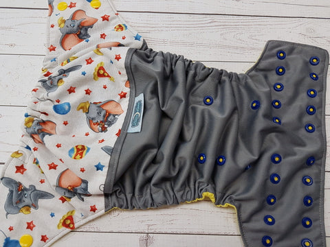 Circus Friends (gray pul, citron awj, two toned snaps; marigold caps, royal blue pieces) <br>Wrap Around, One Size Pocket Diaper<br>Instock and Ready to Ship