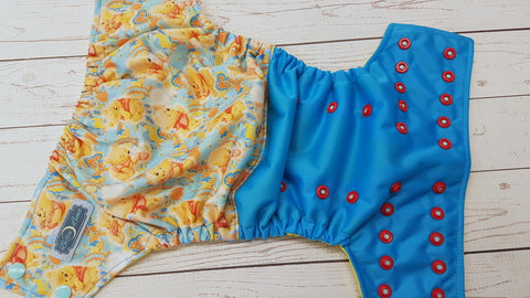 Pooh Cub (aqua pul, citron awj, two toned snaps; seaspray caps, red pieces) <br>Half & Half, One Size Pocket Diaper<br>Instock and Ready to Ship