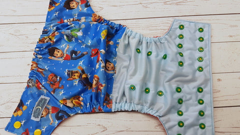 Ryder An His Paw Pals (light blue pul, red awj, two toned snaps; citron caps, kelly pieces) <br>Half & Half, One Size Pocket Diaper<br>Instock and Ready to Ship
