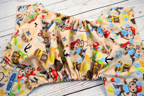 Pirate Monkey ( light blue snaps ) <br>Traditional, One Size Pocket Diaper<br>Instock and Ready to Ship