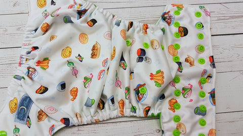 Sushi Buddies (spring green awj, apple snaps) 6.1 <br>Performance Knit Traditional, One Size Pocket Diaper<br>Instock and Ready to Ship