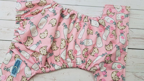 Cover- Pink Milk & Cookies (light pink pul inner & snaps) <br>Performance Knit Traditional, One Size Cover<br>Instock and Ready to Ship