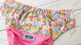 Sweet Kitty (raspberry pul, light blue awj, two toned snaps; light pink caps, light blue pieces) <br>Wrap Around, One Size Pocket Diaper<br>Instock and Ready to Ship