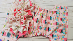 Keep Calm and Eat Cupcakes WITH Coordinating Ruffles (raspberry awj, two toned snaps; med. purple caps, seaspray pieces) 6.8 <br>Performance Knit Traditional, One Size Pocket Diaper<br>Instock and Ready to Ship