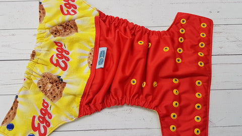 Yummy Waffles! (red pul, citron awj, two toned snaps; royal caps, marigold pieces) <br>Wrap Around, One Size Pocket Diaper<br>Instock and Ready to Ship
