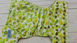 Yummy Avocado (brown awj, two toned snaps; apple caps, brown pieces) 6.1 <br>Performance Knit Traditional, One Size Pocket Diaper<br>Instock and Ready to Ship