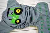 Big Green Tractor ( gray outer / kelly snaps ) <br>Embroidered, One Size Pocket Diaper<br>Instock and Ready to Ship