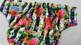 Floral Blinds (violet awj & snaps) 6.15 <br>Performance Knit Traditional, One Size Pocket Diaper<br>Instock and Ready to Ship